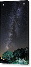 Milky Way Vertical Panorama At Enchanted Rock State Natural Area - Texas Hill Country Acrylic Print by Silvio Ligutti