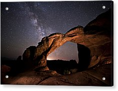 Milkyway Over Broken Arch Acrylic Print by Melany Sarafis