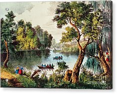 Mill Cove Lake Acrylic Print by Currier and Ives