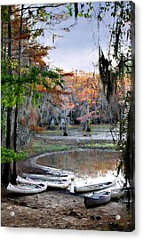 Mill Pond Canoes Acrylic Print by Lana Trussell