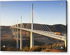 Millau Viaduct At Sunrise Midi Pyrenees France Acrylic Print by Colin and Linda McKie