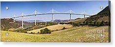 Millau Viaduct Panorama Midi Pyrenees France Acrylic Print by Colin and Linda McKie