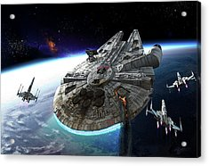 Millenium Falcon Being Escorted Acrylic Print
