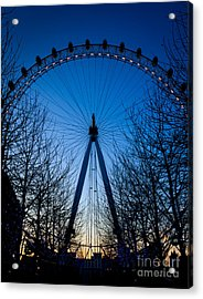 Acrylic Print featuring the photograph Millennium Eye London At Twilight by Peta Thames