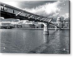 Millennium Foot Bridge - London Acrylic Print by Mark E Tisdale