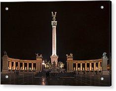 Millennium Monument Budapest Night Acrylic Print