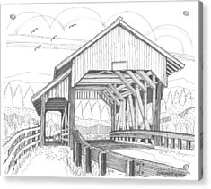 Acrylic Print featuring the drawing Miller's Run Covered Bridge by Richard Wambach