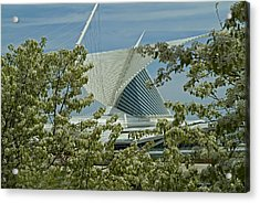 Milwaukee Art Museum Through Flowered Trees Acrylic Print by Devinder Sangha