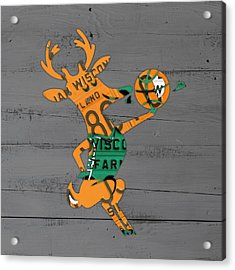 Milwaukee Bucks Basketball Team Logo Vintage Recycled Wisconsin License Plate Art Acrylic Print by Design Turnpike