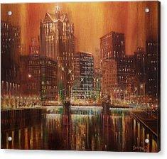 Milwaukee River Downtown Acrylic Print by Tom Shropshire