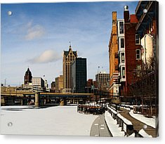Milwaukee Riverwalk Acrylic Print by David Blank