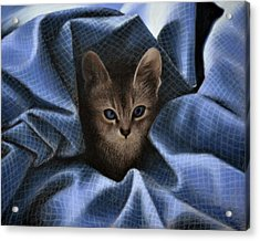 Mimi In The Sheets - Pastel Acrylic Print by Ben Kotyuk