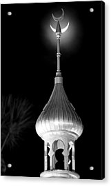 Minaret And Moon Over Tampa Acrylic Print by Daniel Woodrum