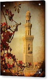 Acrylic Print featuring the photograph Minaret In Old Cairo Capital Of Egypt by Mohamed Elkhamisy