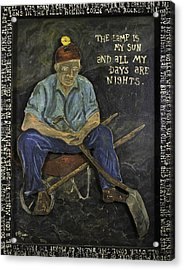 Acrylic Print featuring the painting Miner - Lamp Is My Sun by Eric Cunningham