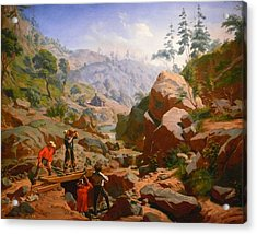 Miners In The Sierras Acrylic Print by Charles Nahl