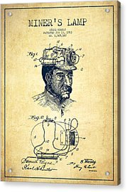Miners Lamp Patent Drawing From 1913 - Vintage Acrylic Print by Aged Pixel