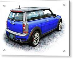 Mini Cooper Clubman Blue Acrylic Print by David Kyte