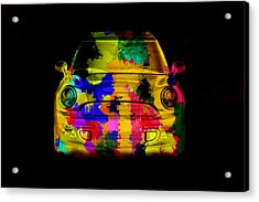 Mini Cooper Colorful Abstract On Black Acrylic Print by Eti Reid