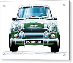 Mini Cooper On Ice Acrylic Print by David Kyte