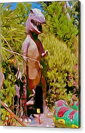 Mini-golf T-rex Acrylic Print by Gregory Dyer