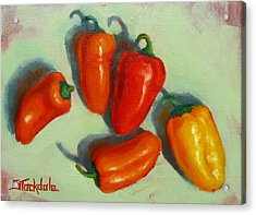 Acrylic Print featuring the painting Mini Peppers Study 1 by Margaret Stockdale