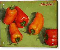 Acrylic Print featuring the painting Mini Peppers Study 2 by Margaret Stockdale