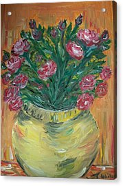 Acrylic Print featuring the painting Mini Roses by Teresa White