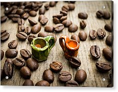 Miniature Coffee Cups Acrylic Print by Aged Pixel