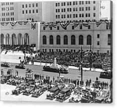 Miniature La City Hall Parade Acrylic Print by Underwood & Underwood