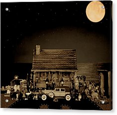 Miniature Log Cabin Scene With Old Vintage Classic 1930 Packard Labaron In Sepia Color Acrylic Print by Leslie Crotty
