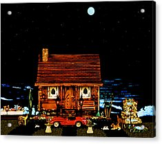 Miniature Log Cabin Scene With The Classic 1958 Ferrari 250 Testa Rossa In Color Acrylic Print by Leslie Crotty