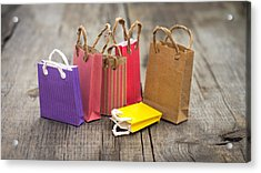 Miniature Shopping Bags Acrylic Print by Aged Pixel