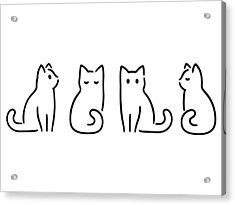 Minimal Cat Drawing Acrylic Print by Sudowoodo