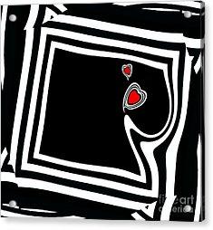Minimalist Black White Red Art No.95. Acrylic Print by Drinka Mercep