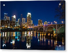 Minneapolis City Lights Acrylic Print by Mark Goodman