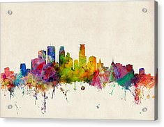 Minneapolis Minnesota Skyline Acrylic Print by Michael Tompsett