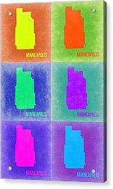 Minneapolis Pop Art Map 3 Acrylic Print by Naxart Studio