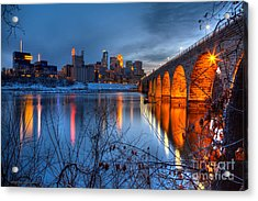 Minneapolis Skyline Images Stone Arch Bridge Spring Evening Acrylic Print
