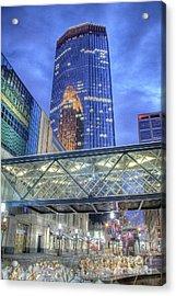 Minneapolis Skyline Photography Nicollet Mall Winter Evening Acrylic Print