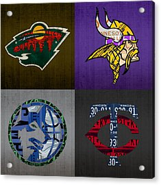 Minneapolis Sports Fan Recycled Vintage Minnesota License Plate Art Wild Vikings Timberwolves Twins Acrylic Print by Design Turnpike