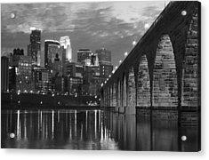 Minneapolis Stone Arch Bridge Bw Acrylic Print by Wayne Moran