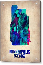 Minneapolis Watercolor Map Acrylic Print by Naxart Studio