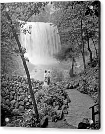 Minnehaha Falls Minneapolis Minnesota 1915 Vintage Photograph Acrylic Print by A Gurmankin