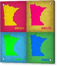 Minnesota Pop Art Map 1  Acrylic Print by Naxart Studio