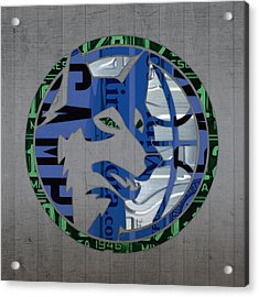 Minnesota Timberwolves Basketball Team Retro Logo Vintage Recycled Minnesota License Plate Art Acrylic Print by Design Turnpike