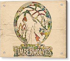 Minnesota Timberwolves Retro Poster Acrylic Print by Florian Rodarte