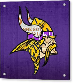Minnesota Vikings Football Team Retro Logo Minnesota License Plate Art Acrylic Print