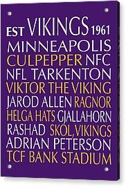 Minnesota Vikings Acrylic Print by Jaime Friedman