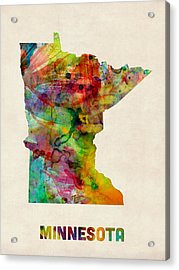 Minnesota Watercolor Map Acrylic Print by Michael Tompsett